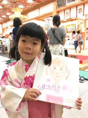 仁保姫神社でパステル似顔絵