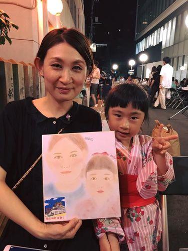 稲生神社の夏越祭パステル似顔絵